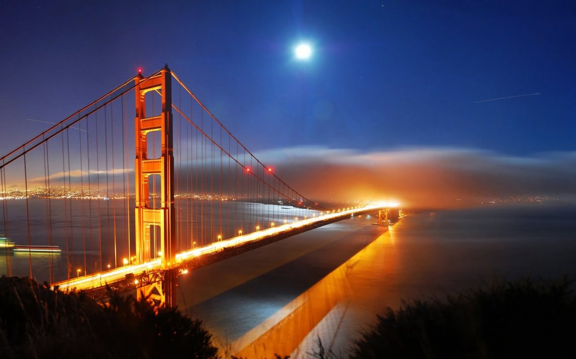 Download Wallpaper Wonderful bridge in the night - Orange light