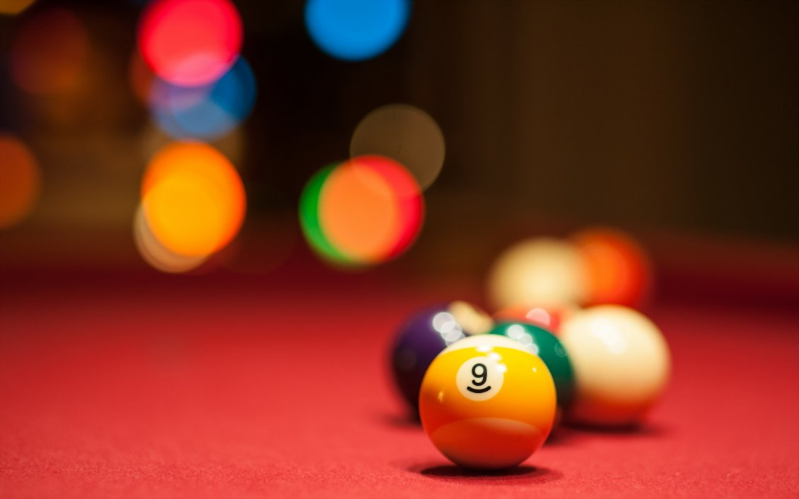 Download Wallpaper Yellow pool ball - Number nine on the table
