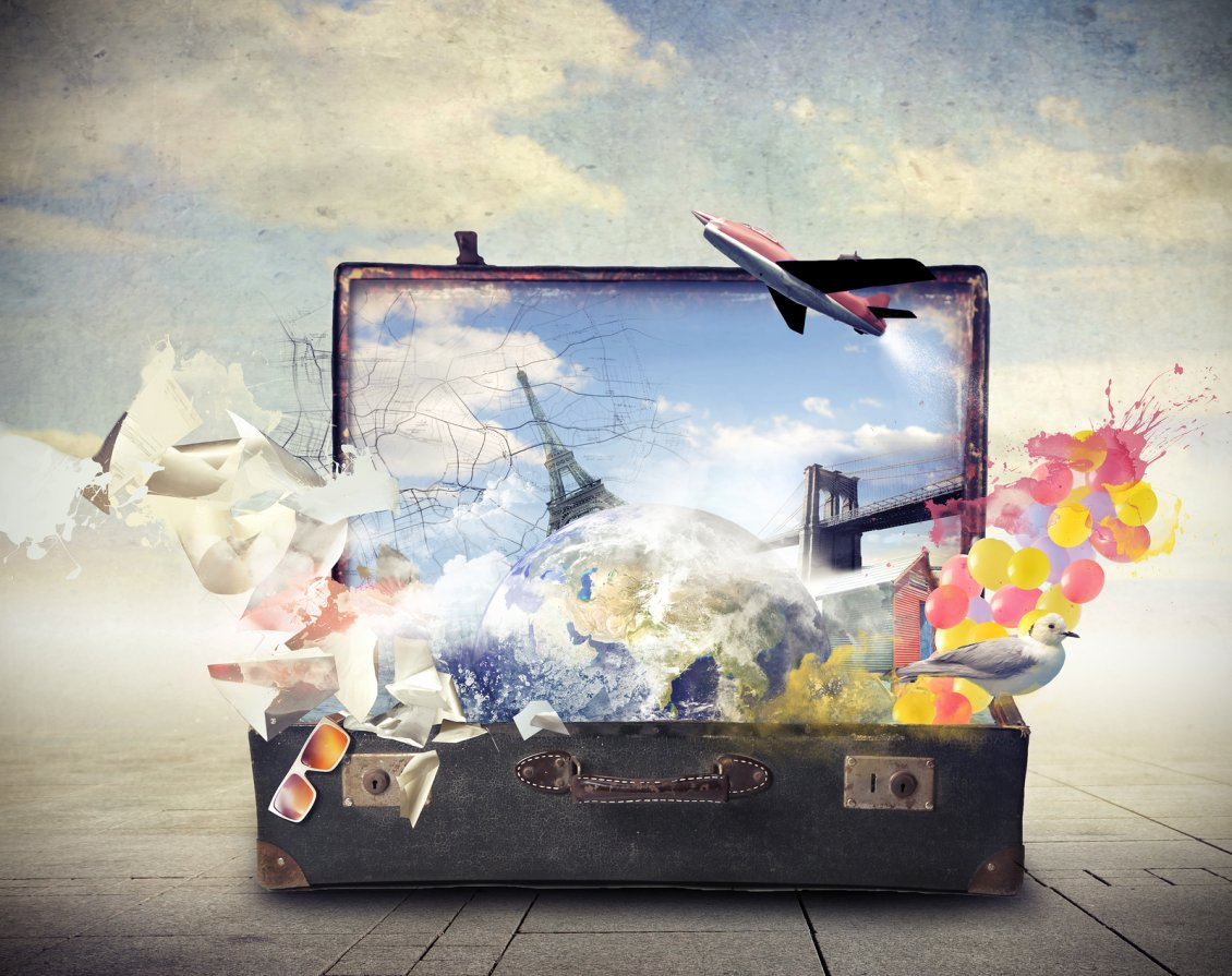 Download Wallpaper All the world in one suitcase - Holiday time