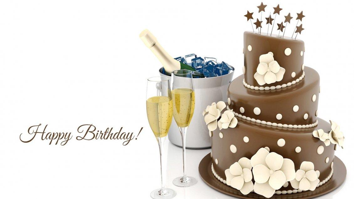 Champagne and chocolate cake - Happy birthday