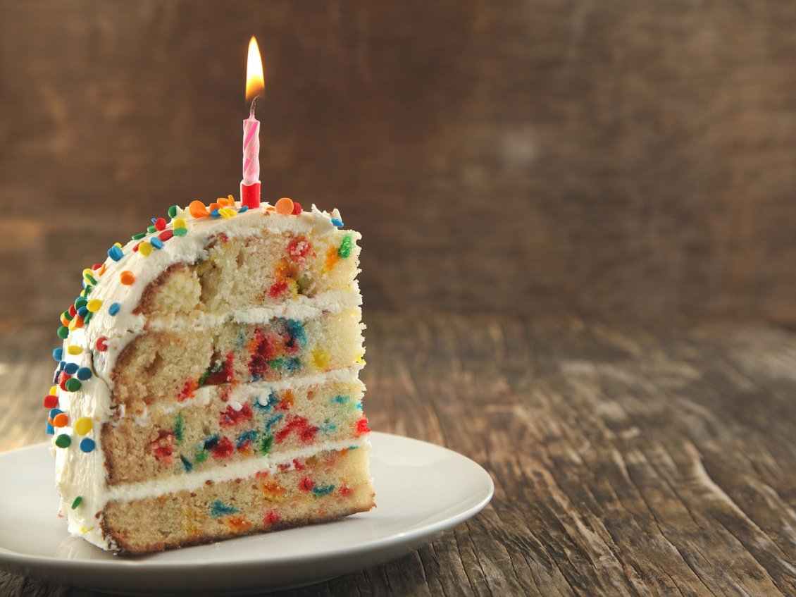 Delicious Piece Of Birthday Cake Hd Wallpaper