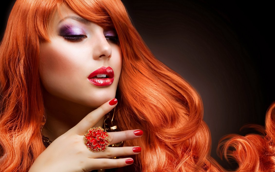 Hot Orange Hair And Beautiful Makeup Hd Wallpaper
