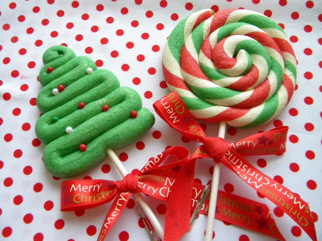 Christmas Candies.Happy Winter Holiday Christmas Candies On The Stick