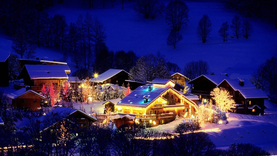 Small Village Decorated For Christmas Night Magic Moments