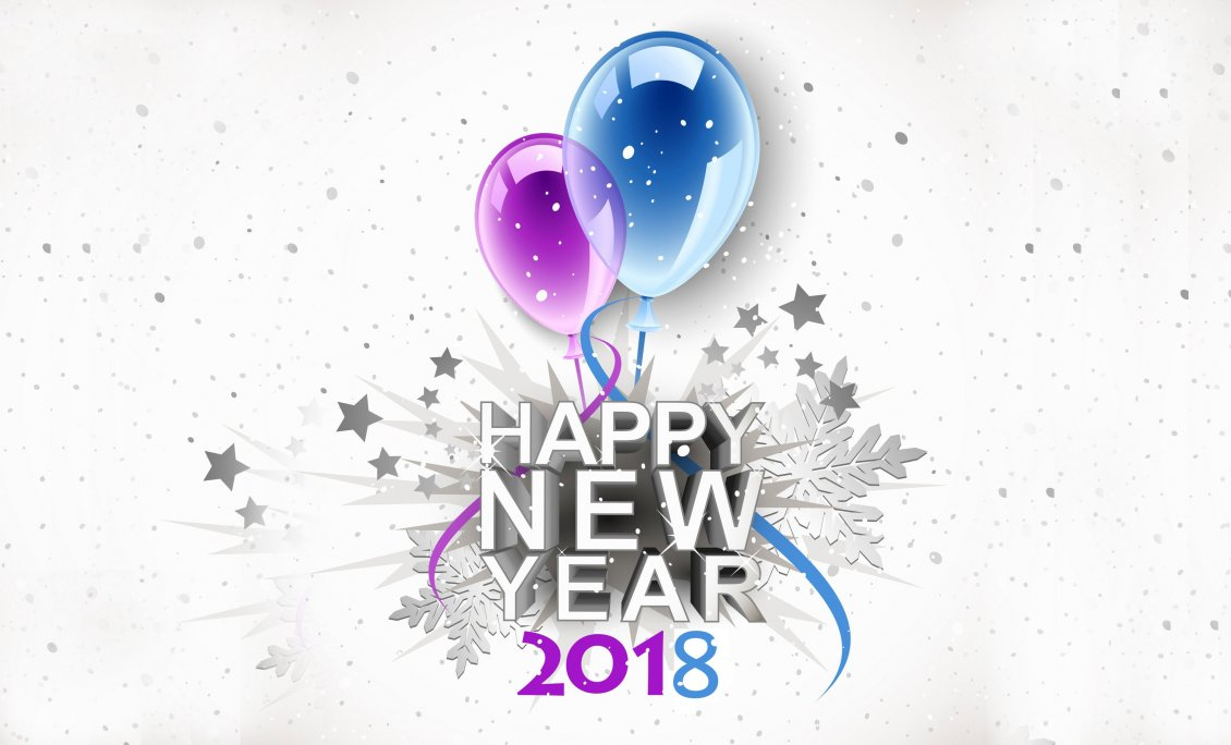 Download Wallpaper Pink and blue balloons - Happy New Year 2018