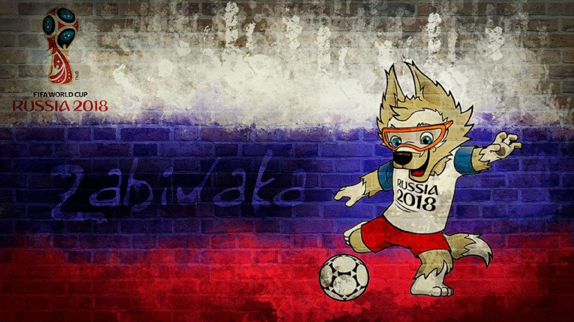Download Wallpaper Fox mascot Fifa World Cup Russia 2018 - Flag on the wall