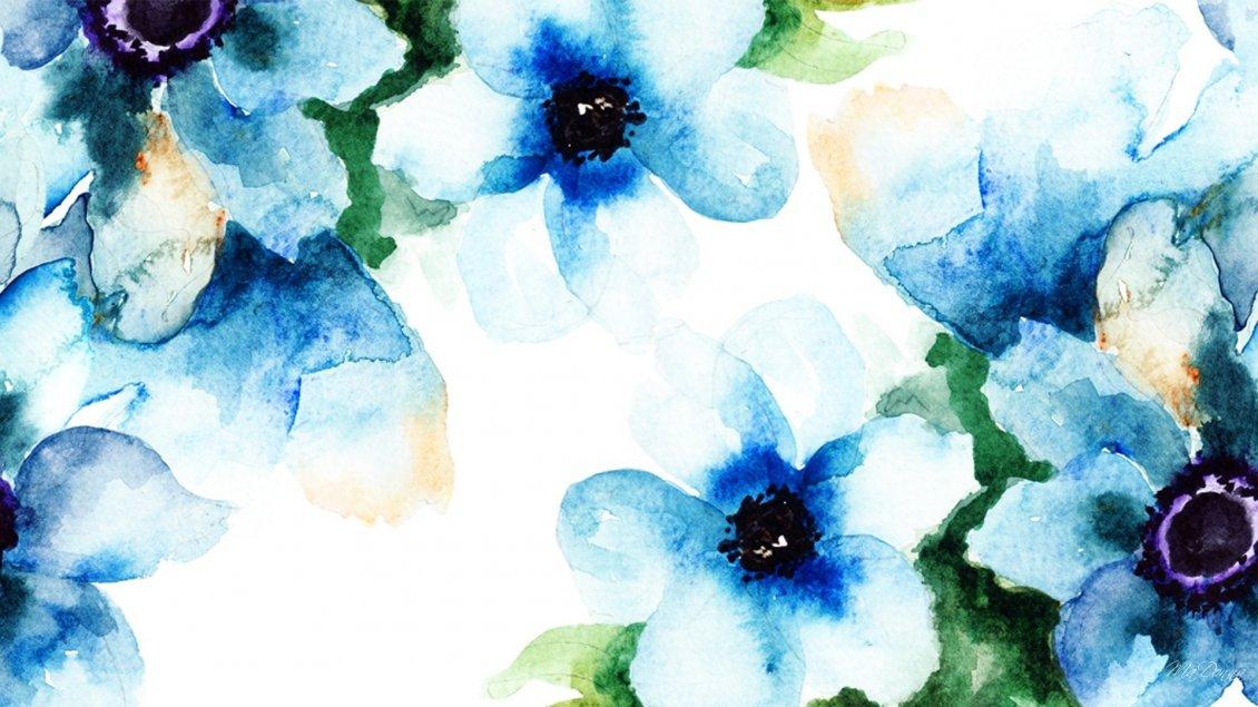 Blue Wonderful Abstract Flowers Hd Wallpaper