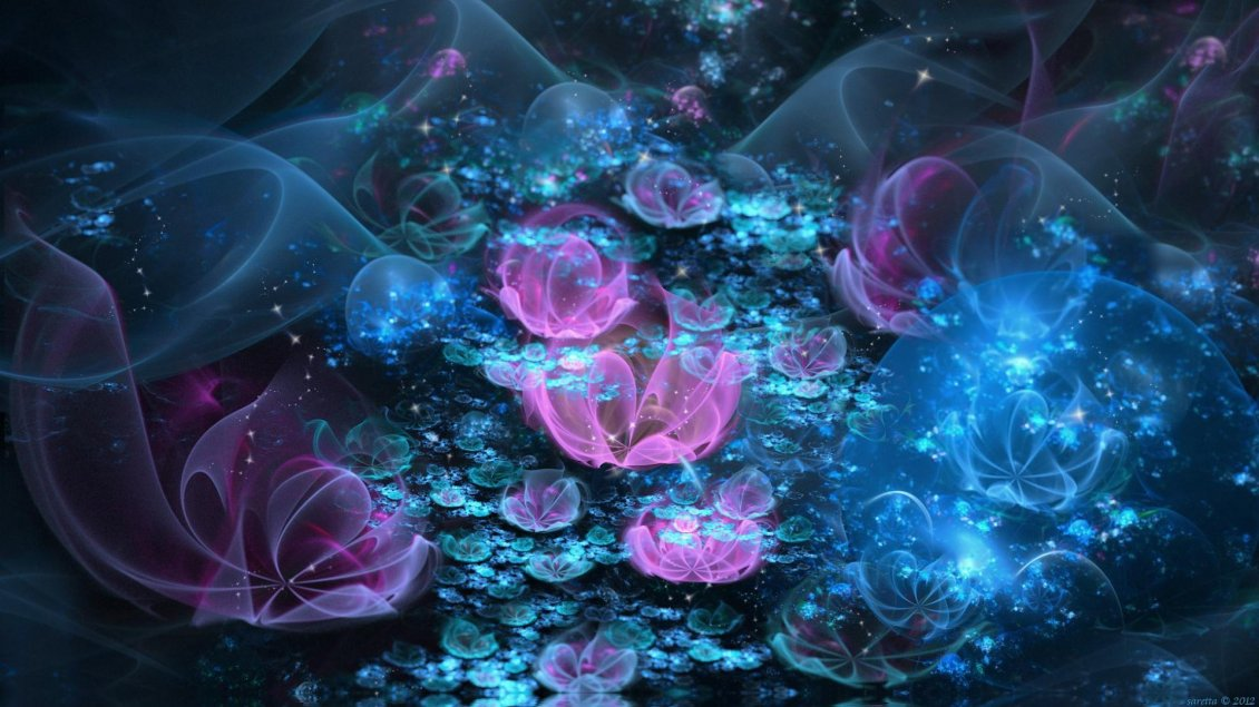 Download Wallpaper Pink and blue flowers - Abstract wallpaper