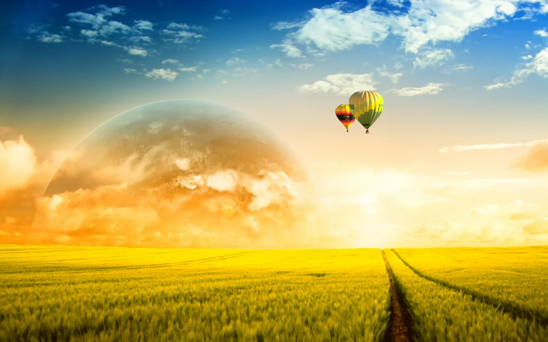 Download Wallpaper Two hot air balloons and big planet at the orizont - Space