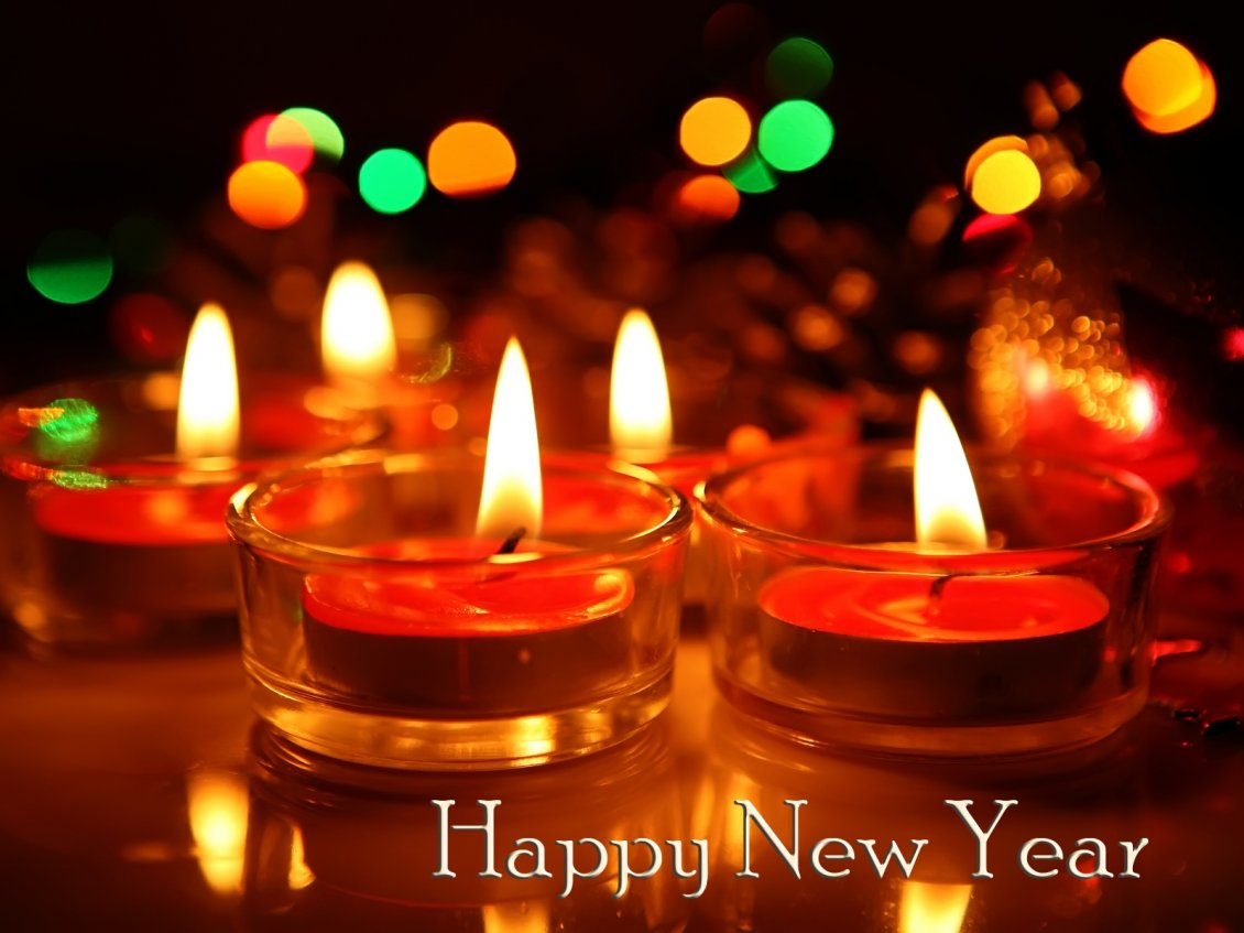 Download Wallpaper Warm fire form candles - Happy New Year 2019