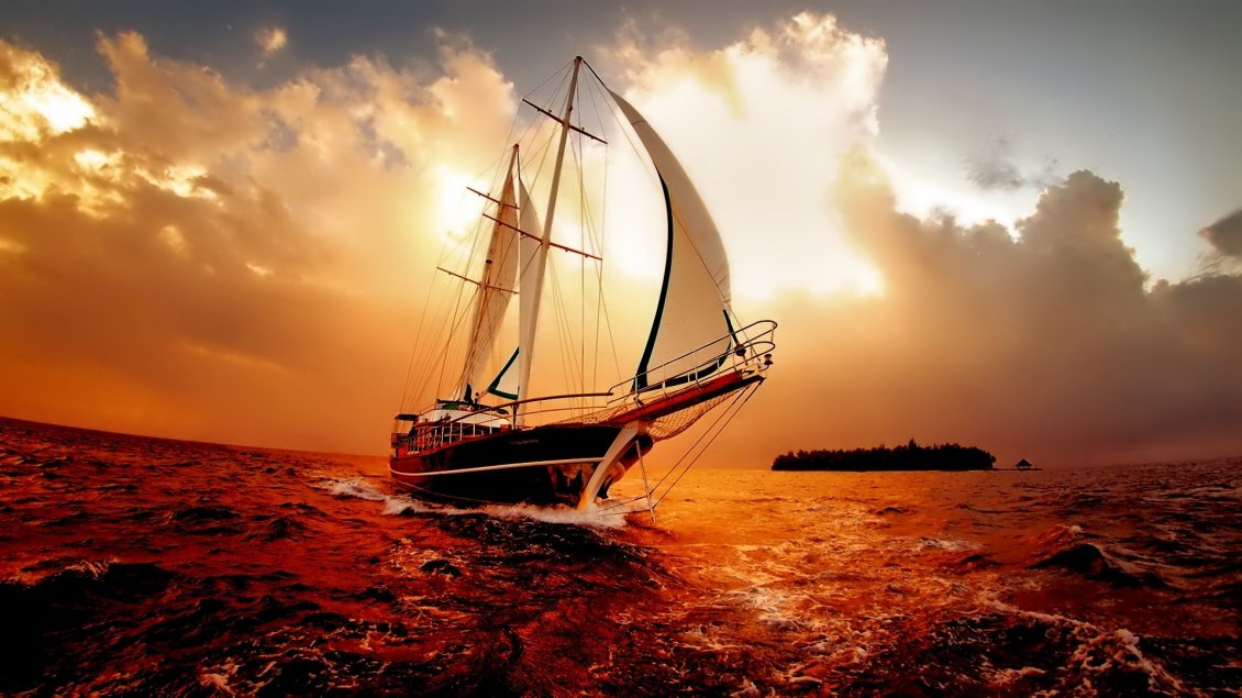 Download Wallpaper Wonderful nature moments on the ocean - Red sky and water