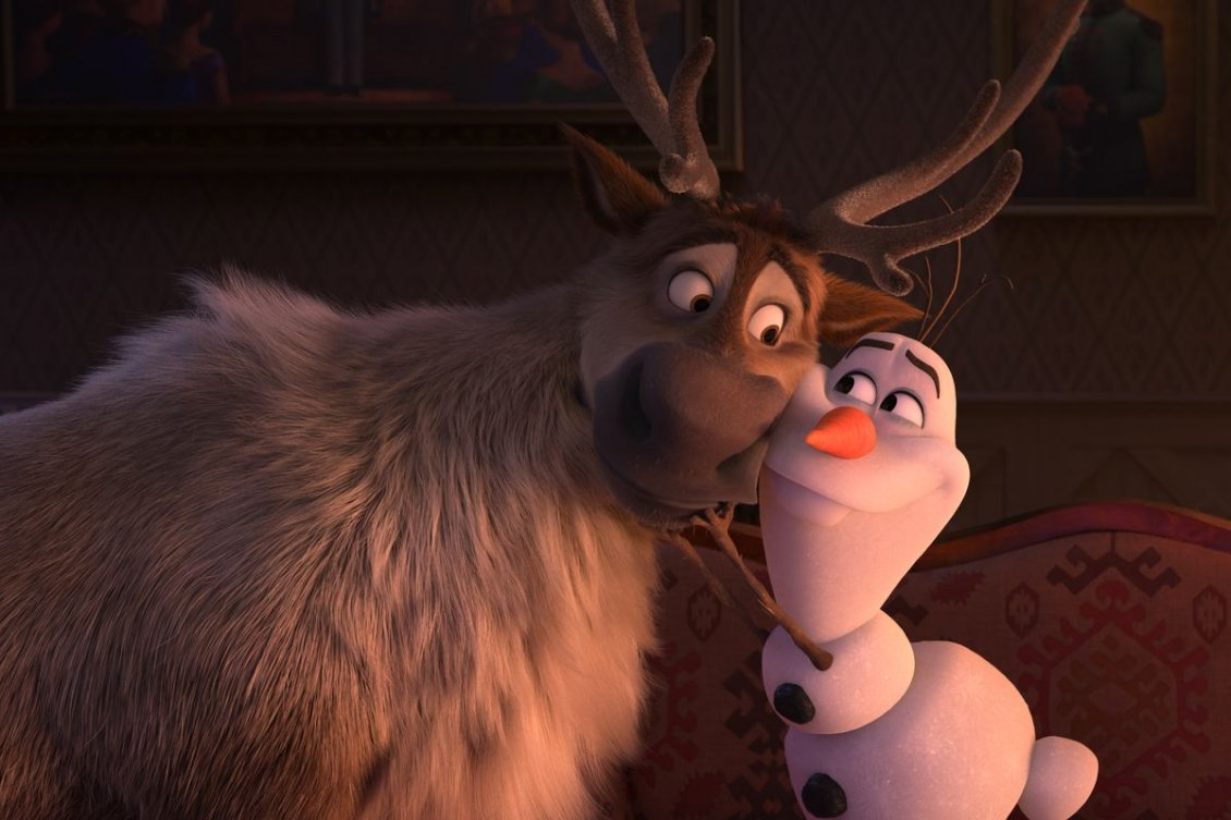 Download Wallpaper Best friends Olaf and Reindeer from Frozen the kids movie