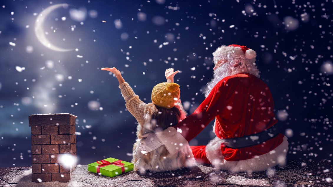 Download Wallpaper Magic time with Santa Claus on the roof - Christmas holiday