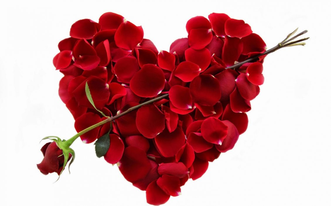 Download Wallpaper Red love heart made of red rose petals - Valentines Day 14th