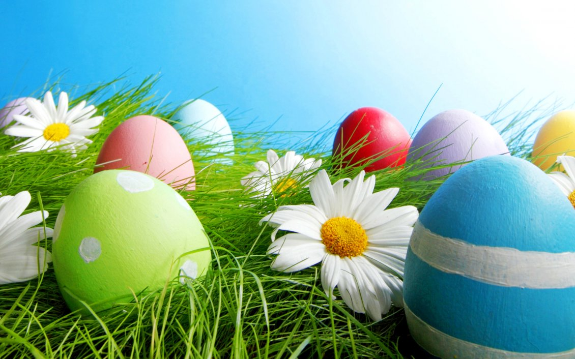 Download Wallpaper Macro - Big colourful Easter eggs in the green grass