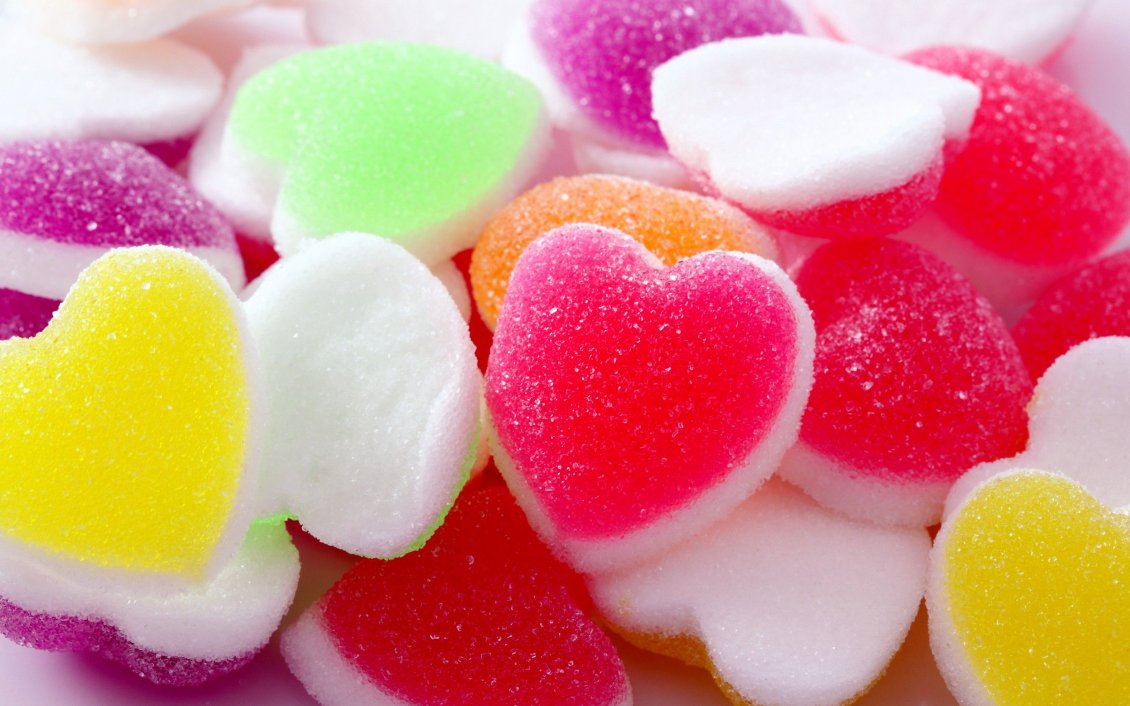 Download Wallpaper Delicious jelly shape of hearts - Colored jelly candy