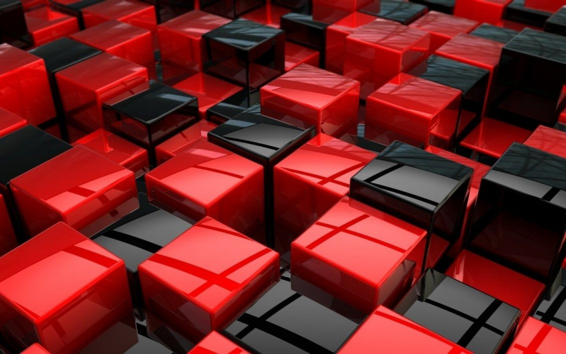 Download Wallpaper Black and red 3D boxes on the wall - HD wallpaper