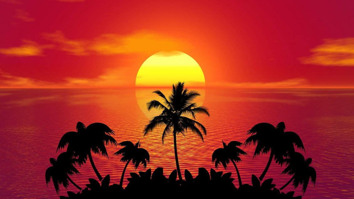 Download Wallpaper Big golden sun at sunset over the ocean - Palm shadow
