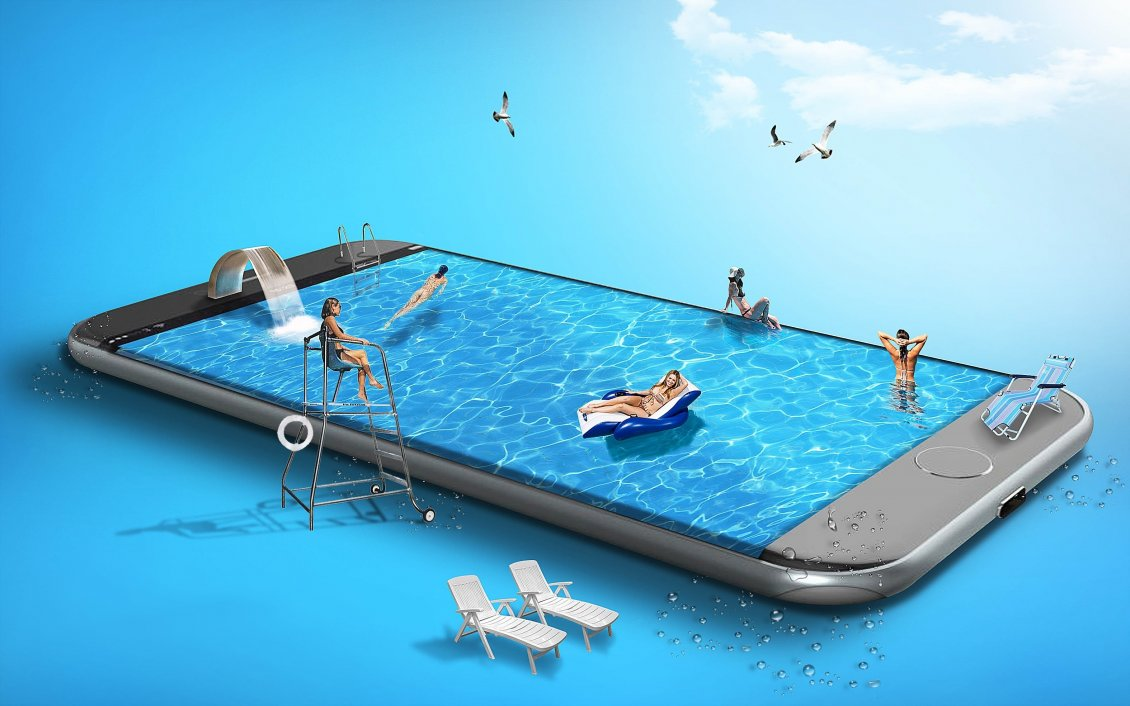 Download Wallpaper Abstract summer holiday - iPhone 11Pro pool party sport time