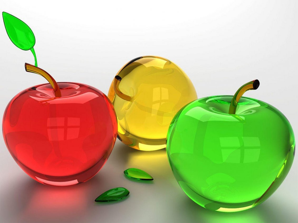 Download Wallpaper Three crystal colorful apples - Red Yellow Green