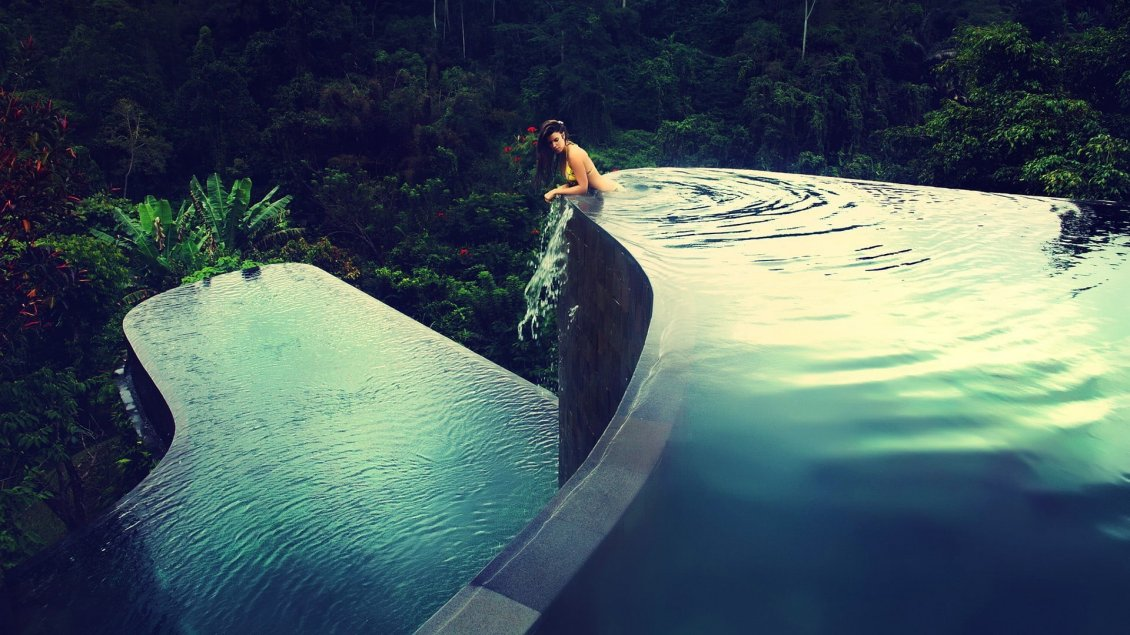 Download Wallpaper Infinity pool on the mountain - Wonderful nature view