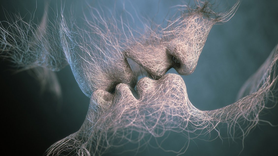 Download Wallpaper Sweet kiss - Romantic moment abstract wallpaper