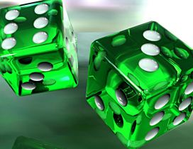 Two green dice in air - 3D wallpaper