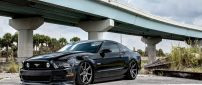 Black Ford Mustang with Vossen Wheels