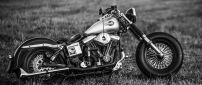 Black and White Harley Davidson Motorcycle