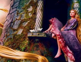 Taylor Swift as Rapunzel with two white pigeons