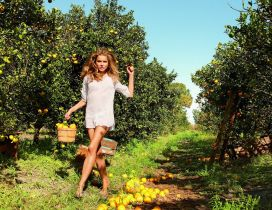 Happy girl who reap ripe oranges