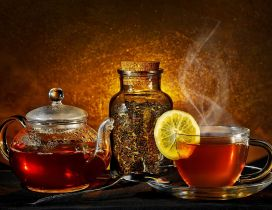 A cup of hot tea with lemon
