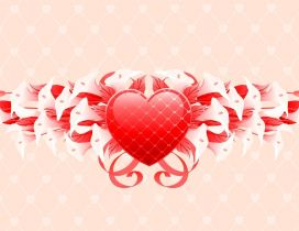 Red heart and white calla - Artistic love wallpaper
