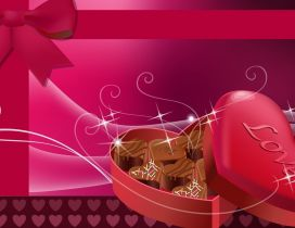 Chocolate hearts in a pink heart box