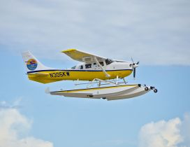 White and yellow seaplanes flying in the air