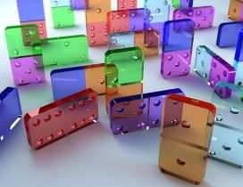 Colorful dominoes pieces - 3D wallpaper