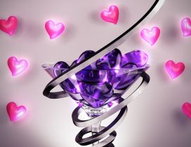 Abstract glass with many purple hearts