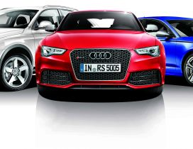 Three audi car in different colors