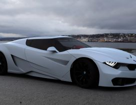 BMW M9 concept on the sea shore