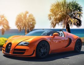 Gorgeous orange Bugatti Veyron w16 on the shore of sea