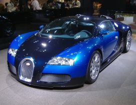 Gorgeous car, blue Bugatti at presentation
