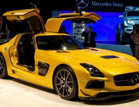 Yellow Mercedes-Benz SLS AMG at presentation