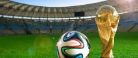 Fifa world cup - Football and cup on the stadium