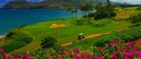 Beautiful and relaxing golf course on the shore of the sea