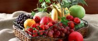 A basket of many fresh fruits