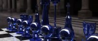 Blue glass chess pieces - 3D image