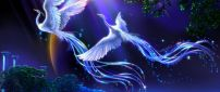 Two artistic white birds flying in the night