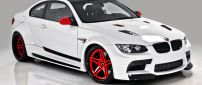White and red BMW M3 Coupe E92