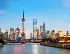 China Cityscapes - Old Bridge and New Shanghai