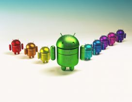 A team of android in different colors